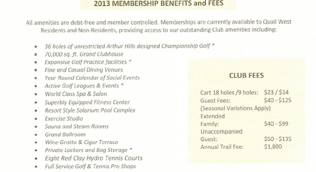 Quail West Membership and Benefits